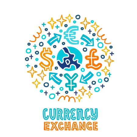 international currency stock exchange investing. Investment handdrawn doodle EPS 10 vector illustration. Capital expenditure finance business commercial economics concept.