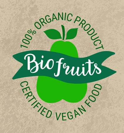 Healthy food green sticker.Kraft paper grungy background,bio fruits lettering.Vegetarian,plant based weight loss concept.100 percent organic product certified vegan text inscription