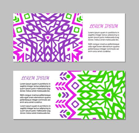 Aztec style horizontal colorful card set. American indian pattern design. Ornamental collection with ethnic motifs. Tribal decorative flyer template. EPS 10 vector concept. Standard-Bild - 126010571