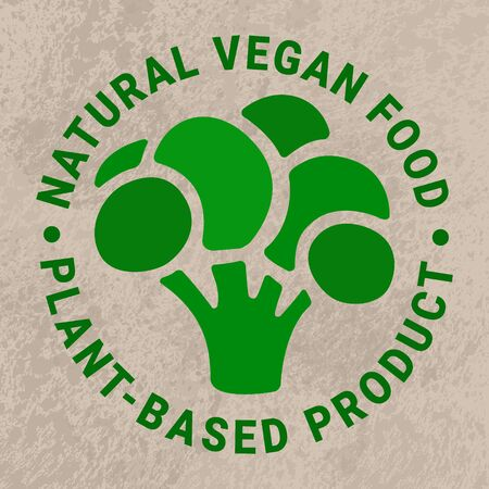 Vector green broccoli sticker. Kraft paper grungy background. Healthy vegetarian,nature,detox,weight loss concept.Natural vegan food, plant-based product text inscription