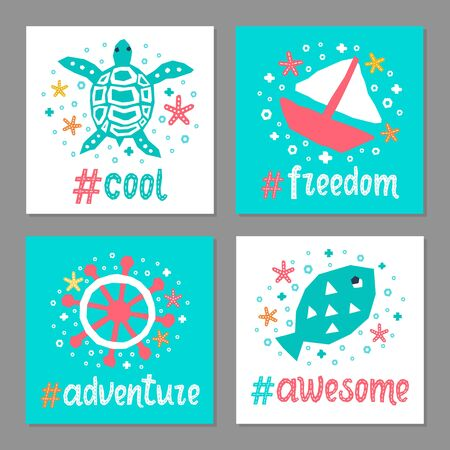 Cutout marine animal kids design element paper flyer card set. Lettering popular hashtag title cool, freedom. Vector cartoon fish, boat, turtle, helm doodle background. Child ocean graphic posters