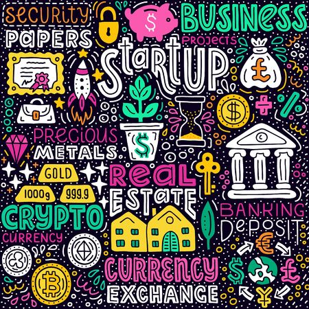 Investment handdrawn flat doodle illustration. Capital expenditure finance business commercial economics concept. E-currency, start-up, real estate, security paper money investing. EPS 10 vector.