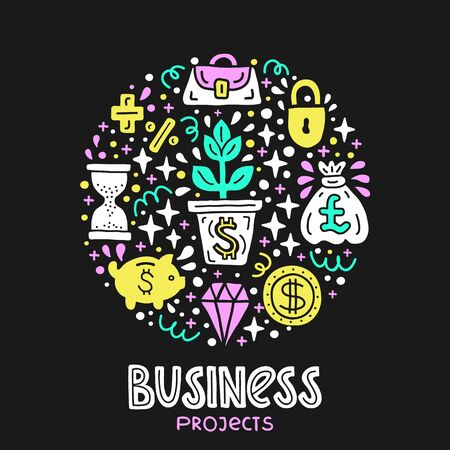 Business project investment handdrawn doodle EPS 10 vector illustration. Lettering text inscription. Capital expenditure finance economics concept. Currency, diamond, start up investing Standard-Bild - 126010577