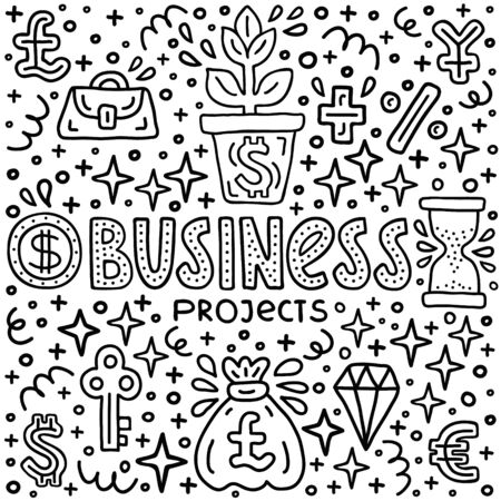 Business project investment handdrawn doodle EPS 10 vector illustration. Lettering text inscription. Capital expenditure finance economics concept. Currency, diamond, start up investing