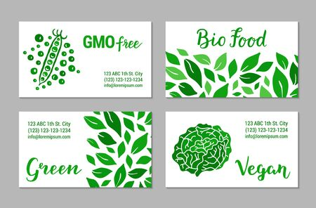 Green visit cards with salad leaves pattern, cabbage and peas. GMO free, Bio food, Vegan lettering text. Colorful template collection. Plant-based concept.