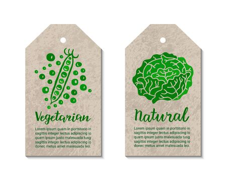 Vegetable tags with peas, cabbage. Vegetarian, natural hand-drawn lettering inscription. Healthy food, ecology, weight loss, low calorie graphic concept. Craft paper background. Reklamní fotografie - 125659262