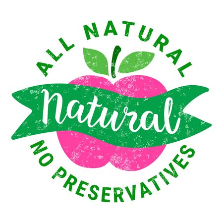 Healthy food green pink sticker. Ilustrace