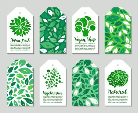 Vegetable tags with broccoli, peas, cabbage, salad leaves. Farm fresh, vegan shop, vegetarian, natural lettering inscription. Weight loss low calorie ecology concept.
