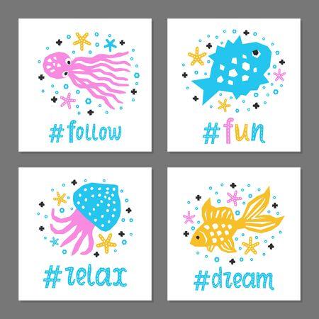 Cutout marine style sea animal kids design element paper flyer card set. Lettering popular hashtag title fun, follow, dream, relax. Vector cartoon fish, octopus, calmar background. Child ocean posters Çizim