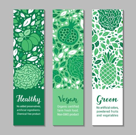 Vector ecology fruit, vegetable banners. Cabbage, garnet, plum, leaf, pineapple pattern. Healthy, Vegan, Green lettering text. Weight loss concept. Low calorie product vertical brochure design