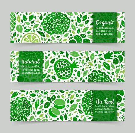 Ecology green fruit, vegetable banner set. Cabbage, pomegranate, plum, leaf, peas pattern. Organic, Natural, Bio food lettering text. Weight loss low calorie product background. EPS 10 vector backdrop