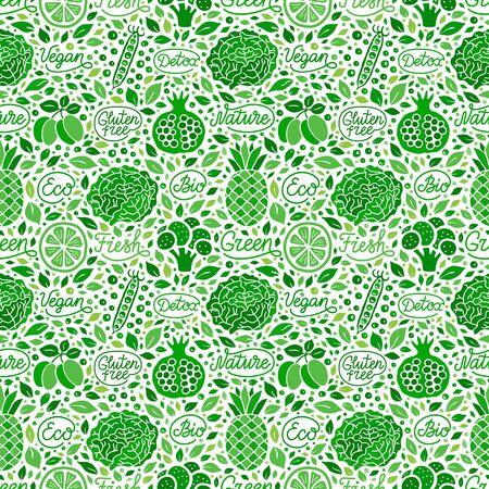 Fruit,vegetable green seamless pattern.Fresh,vegan,detox,nature,gluten free,eco,bio elegant handdrawn lettering inscription.Broccoli,garnet,pea,lime,pineapple,salad leaf EPS 10 vector background