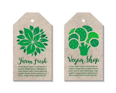 Vegetable tags with broccoli, salad leaves. Farm fresh, vegan shop hand drawn lettering inscription. Vegetarian, natural, weight loss, low calorie, healthy food ecology concept.