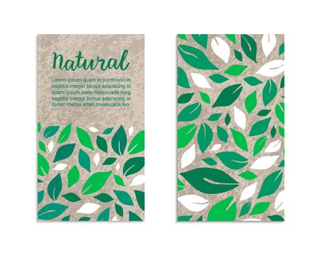 Vegetable flyers with salad leaves. Natural lettering inscription. Kraft paper background. Healthy food, vegetarian, weight loss, low calorie ecology illustration. Eps 10 vector label set.
