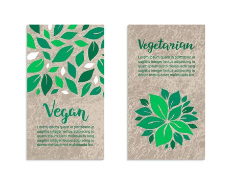 Vegetable flyers with salad leaves. Vegan, Vegetarian lettering inscription. Kraft paper background. Healthy food, weight loss, low calorie ecology illustration. Eps 10 vector label set.