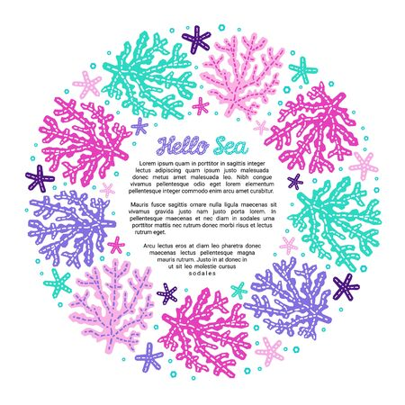 Paper cutout marine style kids design element frame. Hello sea lettering inscription. Funny cartoon doodle background of corals and starfish, EPS 10 vector illustration