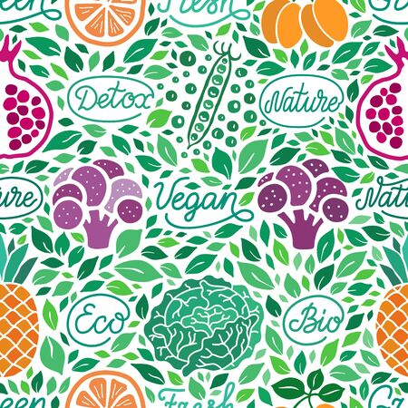 Fruit,vegetable green seamless pattern. Fresh, vegan, detox,nature, gluten free, eco,bio elegant handdrawn lettering inscription. Broccoli, garnet, pea, orange, pineapple, salad leaf vector background Ilustração