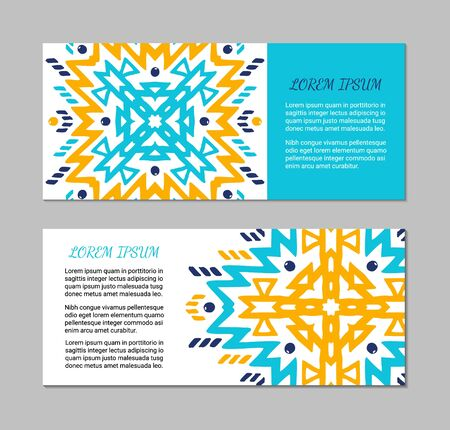 Aztec style horizontal colorful card set. American indian pattern design. Ornamental collection with ethnic motifs. Tribal decorative flyer template. EPS 10 vector concept. Banque d'images - 129901130