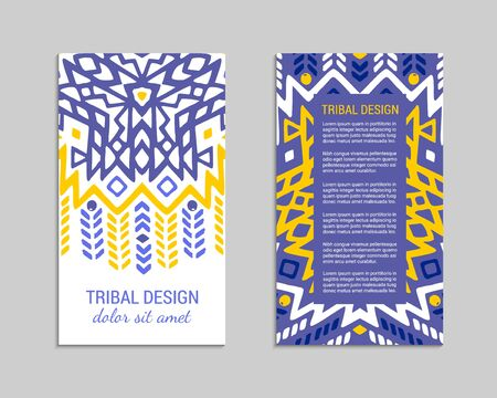 Aztec colorful hand-drawn ornamental card template. American indian leaflet design. Tribal decorative pattern. Ethnic ornate background. Vintage style flyer. EPS 10 vector brochure set. Standard-Bild - 128651743