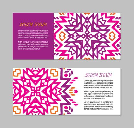 Aztec style horizontal colorful card set. American indian pattern design. Ornamental collection with ethnic motifs. Tribal decorative flyer template. EPS 10 vector concept.