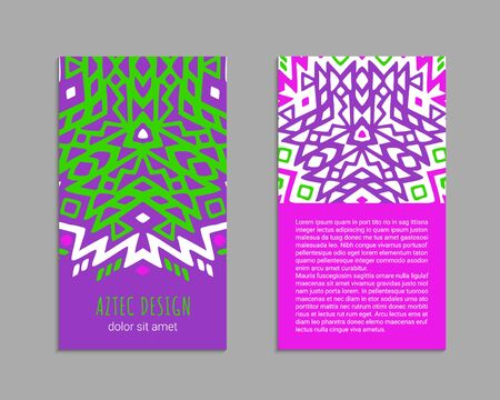 Aztec colorful hand-drawn ornamental card template. American indian leaflet design. Tribal decorative pattern. Ethnic ornate background. Vintage style flyer. EPS 10 vector brochure set. Standard-Bild - 129901135