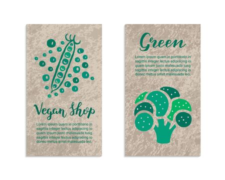 Vegetable flyers with broccoli, peas. Vegan shop, Green lettering inscription. Kraft paper background. Healthy food, vegetarian, weight loss, low calorie ecology illustration. Eps 10 vector card set. Illustration