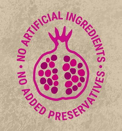 Healthy food eps 10 vector pomegranate sticker. Kraft paper background. No artificial ingredient, added preservatives text