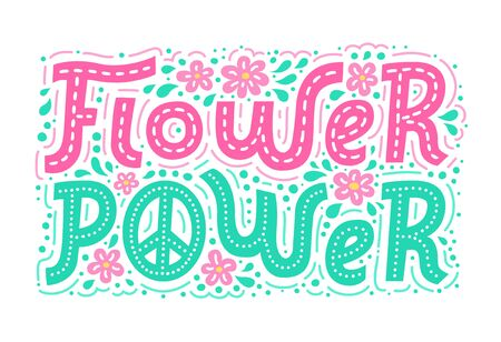 Flower power hand drawn lettering bright colorful background. Hippie style doodle pattern for t-shirt print, textile, clothes and poster design. EPS 10 vector illustration. Standard-Bild - 129901143