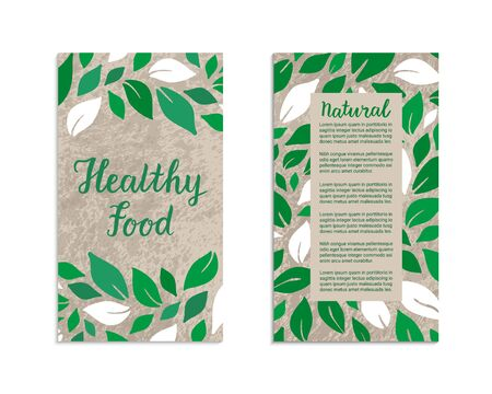 Vegetable flyers with salad leaves. Healthy food, Natural lettering inscription. Kraft paper background. Vegetarian, weight loss, low calorie ecology illustration. Eps 10 vector label set.