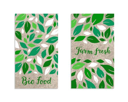 Vegetable flyers with salad leaves. Bio food, Farm fresh lettering inscription. Kraft paper background. Healthy, vegetarian, weight loss, low calorie ecology illustration. Eps 10 vector label set.