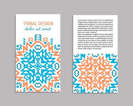 Aztec colorful hand-drawn ornamental card template. American indian leaflet design. Tribal decorative pattern. Ethnic ornate background. Vintage style flyer. EPS 10 vector brochure set.