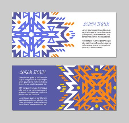 Aztec style horizontal colorful card set. American indian pattern design. Ornamental collection with ethnic motifs. Tribal decorative flyer template. EPS 10 vector concept. Standard-Bild - 129901149