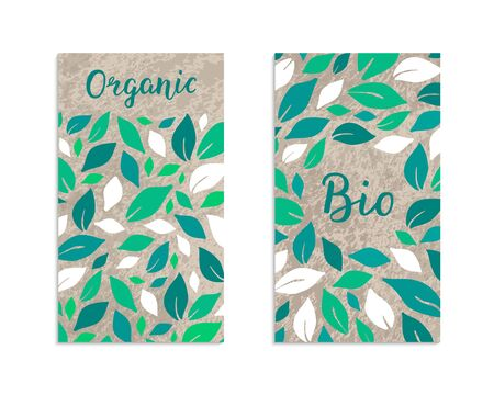 Vegetable flyers with salad leaves. Organic, Bio lettering inscription. Kraft paper background. Healthy food, vegetarian, weight loss, low calorie ecology illustration. Eps 10 vector label set.