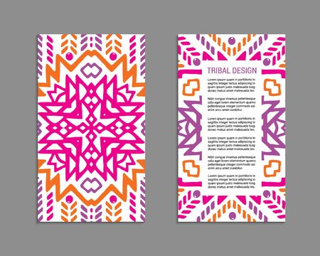 Aztec colorful hand-drawn ornamental card template. American indian leaflet design. Tribal decorative pattern. Ethnic ornate background. Vintage style flyer. EPS 10 vector brochure set. Standard-Bild - 129901156