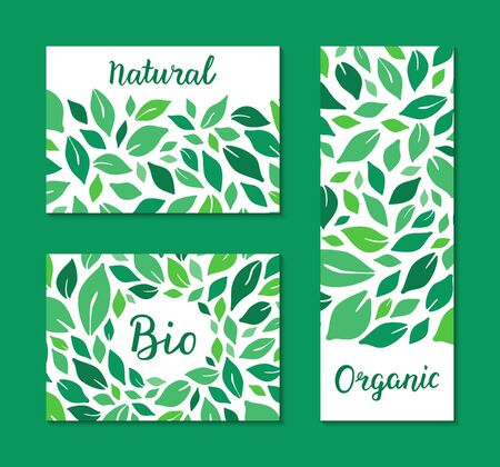 Flyers with green salad leaves pattern. Natural, Organic, Bio hand drawn lettering text. Colourful template collection. Healthy food plant-based concept. Vector EPS 10 illustration