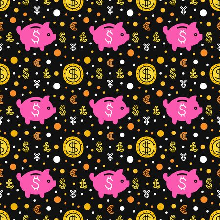 Piggy bank and coins seamless pattern. EPS 10 vector background. Capital expenditure business concept. Investment handdrawn illustration.