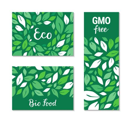 Green flyers with salad leaves pattern. Eco, Bio food, GMO free hand drawn lettering text. Colourful template collection. Healthy natural meal plant-based concept. Vector EPS 10 illustration Standard-Bild - 132074249