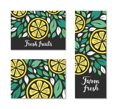 Vector flyers with green leaves and yellow lemon pattern. Farm fresh, fruits hand drawn lettering text inscription. Colourful citrus template collection. Healthy natural bio food plant-based concept