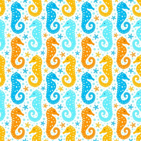 Paper cutout marine style kids design seamless pattern. Funny cartoon seahorse, starfish and bubble endless background. EPS 10 vector illustration Standard-Bild - 129901168