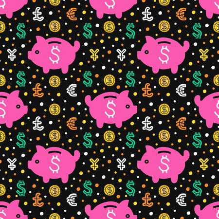 Piggy bank seamless pattern. EPS 10 vector background. Capital expenditure business concept. Investment handdrawn illustration.