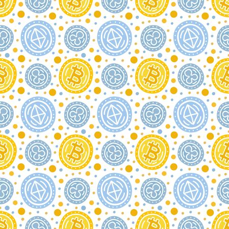 E-currency investing seamless pattern. Alternative payment means EPS 10 vector background. Capital expenditure finance business commercial economics concept. Investment handdrawn illustration.