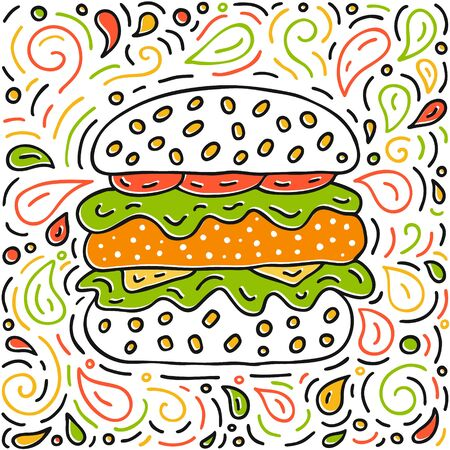 Chicken burger with tomato, salad leaves, sesame and cheese  hand-drawn doodle poster. Fast food illustration EPS 10 vector background.