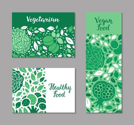 Vector ecology fruit, vegetable flyers. Cabbage, garnet, plum, broccoli, salad leaf pattern. Vegetarian, Healthy, Vegan food, lettering text weight loss concept. Low calorie product brochure design