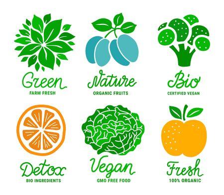 Healthy fruit and vegetable colourful sticker set. Green, Nature, Bio, Fresh, Vegan, Detox lettering inscription. Natural product concept. EPS 10 vector illustration Stock Illustratie