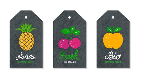 Cherry, pineapple, apple fruit tags. Nature, Fresh, Bio lettering vintage text inscription. Black craft paper grunge background. Healthy, weight loss, natural meal graphic concept. Vector label set Ilustrace
