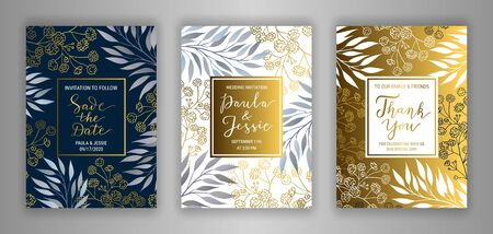 Wedding invitation card template EPS 10 vector set. Elegant branches, leaves, gypsophila flower background. Thank you, Save the date hand-drawn lettering phrase inscription. Black, white, gold decor