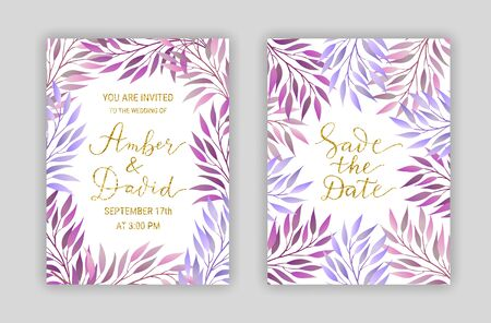 Wedding invitation card templates. Background of elegant branches with violet leaves. Save the date hand-drawn lettering phrase. Golden glitter text. EPS 10 vector illustration. Vettoriali