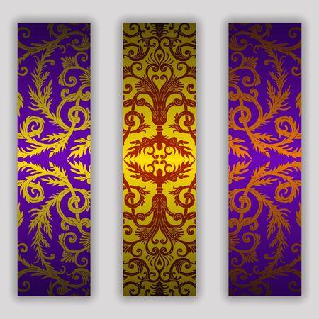 French baroque style elegant ornate banner set. Luxurious fashionable ornamental flyer design. Vintage fancy ornament decoration. Pathetic retro embellishment. EPS 10 vector silky texture background