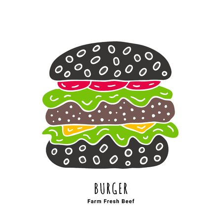 Dark beef burger with tomato, salad leaves, sesame and cheese hand drawn doodle poster. Fast food illustration. EPS 10 vector logo.