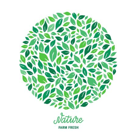Green salad leaves circle pattern. Nature hand drawn lettering text inscription. Colourful ecologic background. Healthy meal plant-based concept. Vector   illustration Stock Illustratie